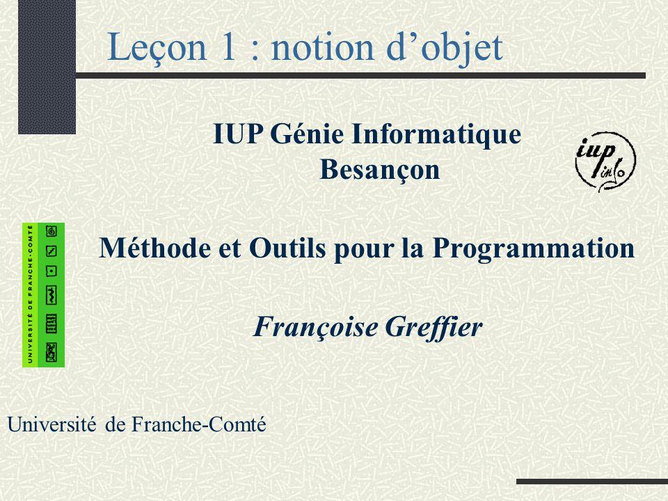 Leçon 1 : notion dobjet IUP Génie Informatique Besançon Méthode et Outils pour la Programmation Françoise Greffier Université de Franche-Comté