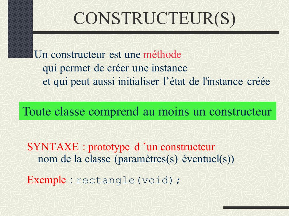Organisation d'une INTERFACE L interface d une classe est la partie visible depuis l extérieur, par l utilisateur de la classe. Elle décline les métho