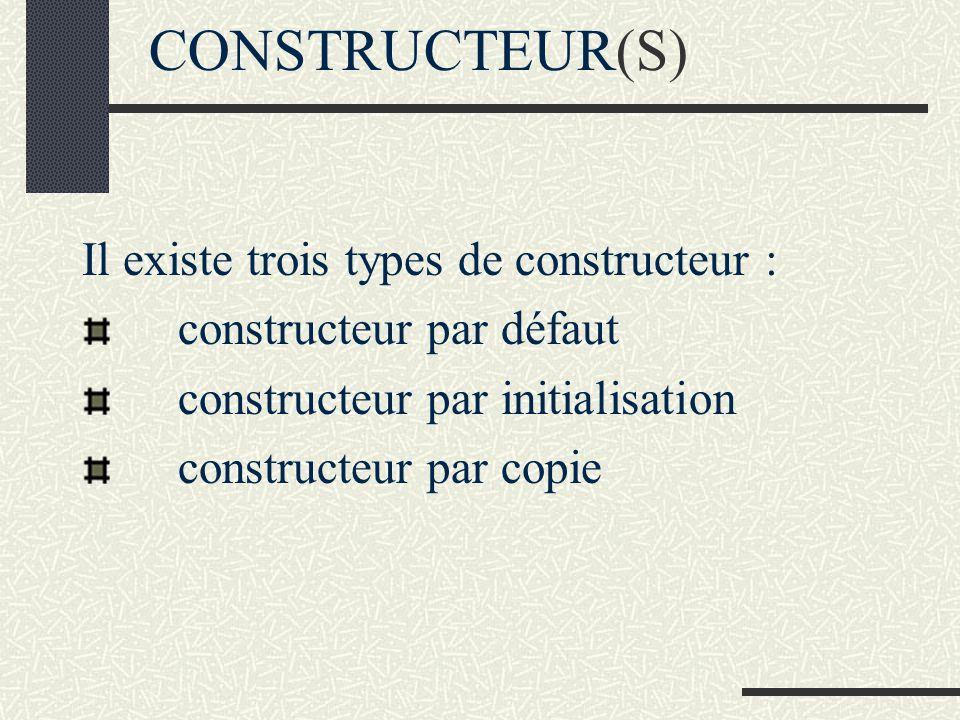CONSTRUCTEUR(S) Un constructeur est une méthode qui permet de créer une instance et qui peut aussi initialiser létat de l instance créée SYNTAXE : prototype d un constructeur nom de la classe (paramètres(s) éventuel(s)) Exemple : rectangle(void); Toute classe comprend au moins un constructeur