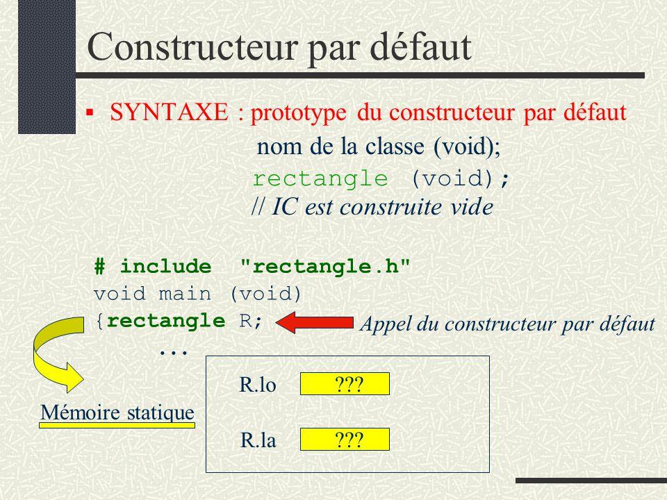 CONSTRUCTEUR(S) Il existe trois types de constructeur : constructeur par défaut constructeur par initialisation constructeur par copie