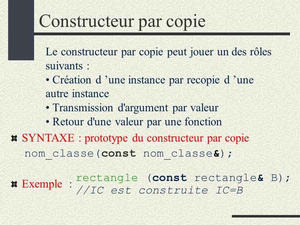 Constructeur par initialisation SYNTAXE : prototype du constructeur par initialisation nom de la classe (paramètres d initialisation); Exemple : # include rectangle.h void main (void) {rectangle R (10,6);...
