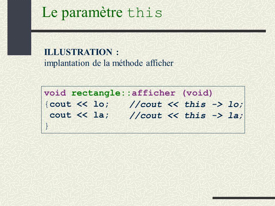 Le pointeur this class rectangle {public : //IC void afficher (void); //longueur et largeur de IC sont affichées Remarque : il nest pas nécessaire d expliciter un paramètre représentant l instance courante (IC).
