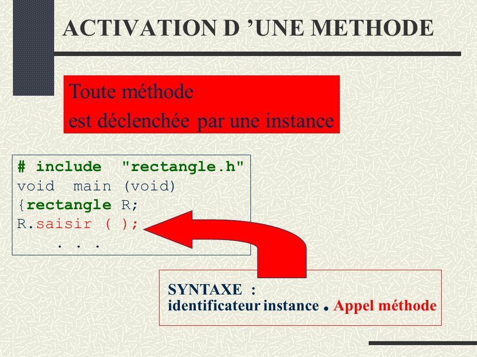Classe et instance de classe Une classe est un modèle Méthodes class rectangle {... Une application Rectangle R Crée une instance appelée R Une instan