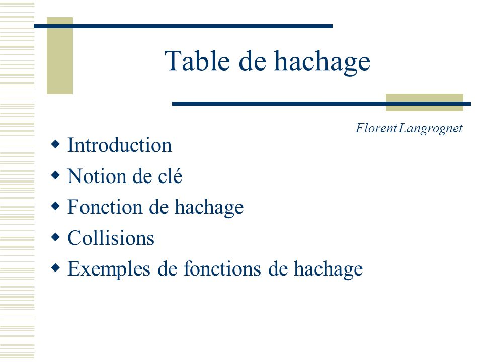 Table de hachage Introduction Notion de clé Fonction de hachage Collisions Exemples de fonctions de hachage Florent Langrognet