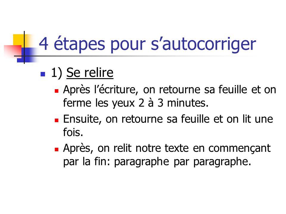 4 étapes pour sautocorriger 1) Se relire Après lécriture, on retourne sa feuille et on ferme les yeux 2 à 3 minutes.
