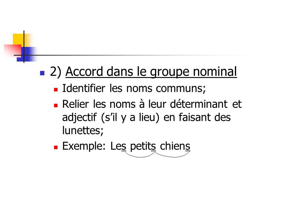 2) Accord dans le groupe nominal Identifier les noms communs; Relier les noms à leur déterminant et adjectif (sil y a lieu) en faisant des lunettes; Exemple: Les petits chiens