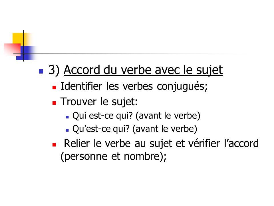 3) Accord du verbe avec le sujet Identifier les verbes conjugués; Trouver le sujet: Qui est-ce qui.