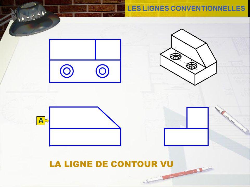 LES LIGNES CONVENTIONNELLES La ligne de contour vu est faite d un trait continu qui repr é sente les formes vues des objets.