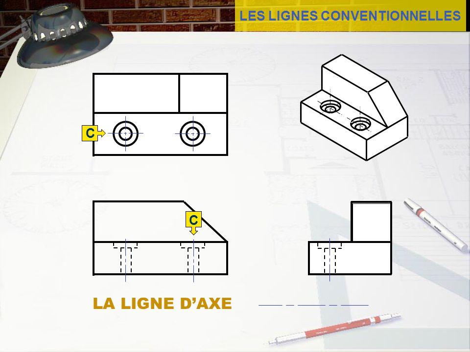 LES LIGNES CONVENTIONNELLES La ligne daxe est faite de traits mixtes.