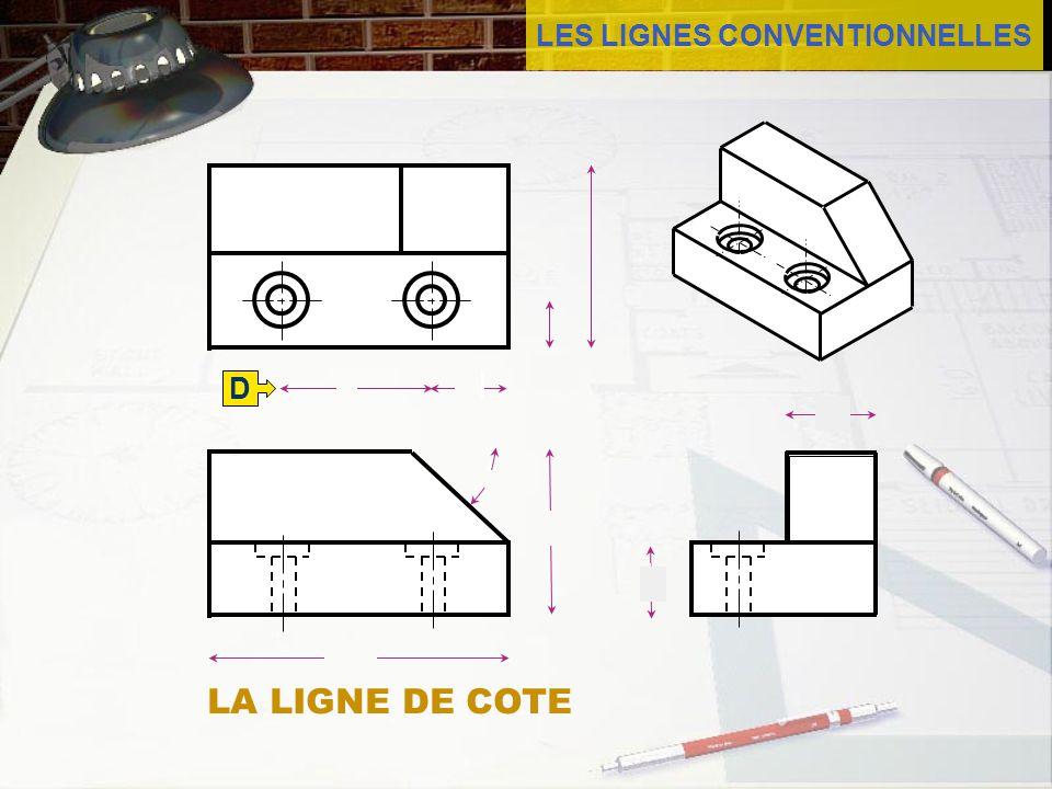 LES LIGNES CONVENTIONNELLES LA LIGNE DE COTE La ligne de cote est un trait fin se terminant par une flèche.