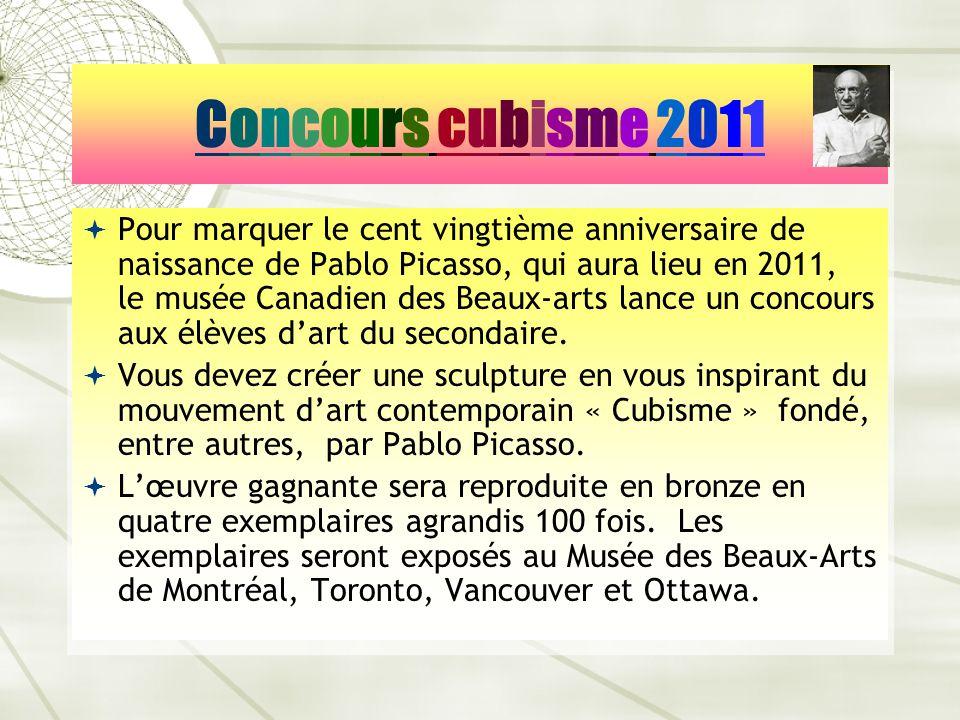 Pour marquer le cent vingtième anniversaire de naissance de Pablo Picasso, qui aura lieu en 2011, le musée Canadien des Beaux-arts lance un concours a