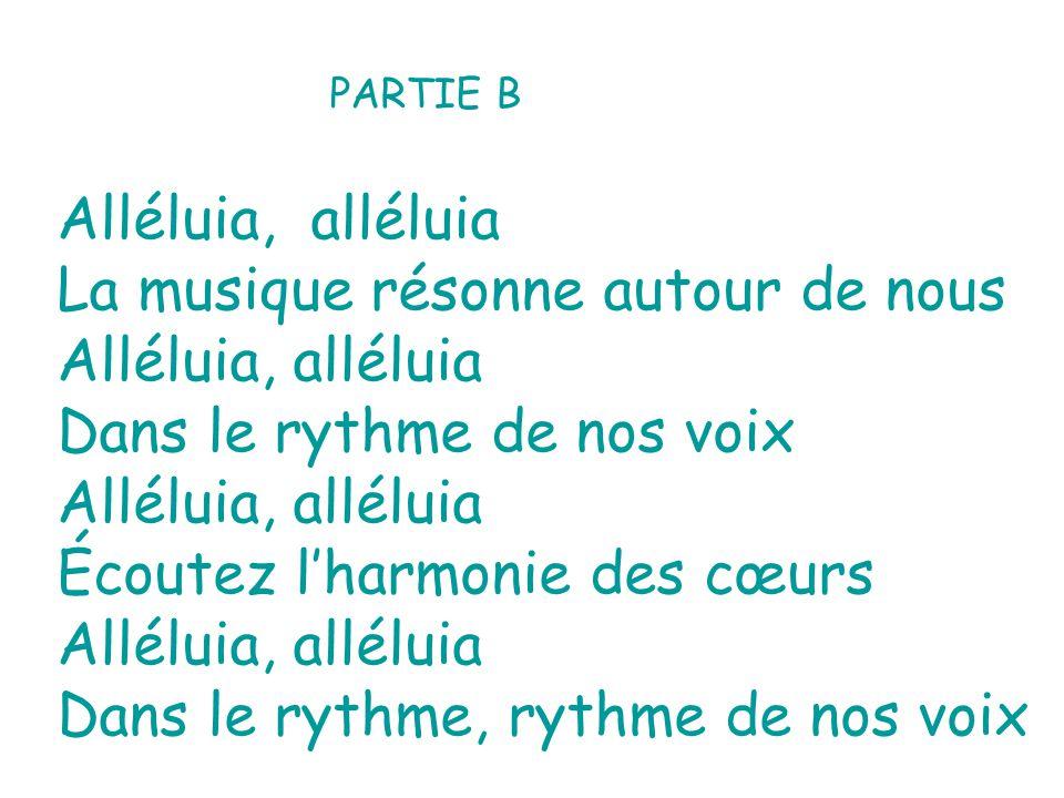 Célébrons la musique de nos cœurs La joie qui résonne Dans le rythme de nos voix Écoutez lécho des instruments Lamitié qui vibre Dans le rythme de nos voix Lamitié qui vibre Dans le rythme de nos voix Alléluia, alléluia La musique résonne autour de nous Alléluia, alléluia Dans le rythme de nos voix Alléluia, alléluia Écoutez lharmonie des cœurs Alléluia, alléluia Dans le rythme, rythme de nos voix Alléluia, alléluia Dans le rythme, rythme de nos voix