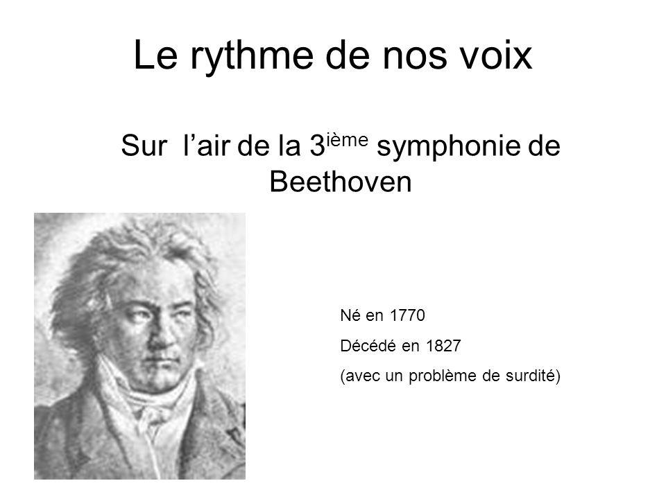 Le rythme de nos voix Sur lair de la 3 ième symphonie de Beethoven Né en 1770 Décédé en 1827 (avec un problème de surdité)