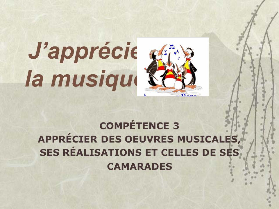 Japprécie la musique COMPÉTENCE 3 APPRÉCIER DES OEUVRES MUSICALES, SES RÉALISATIONS ET CELLES DE SES CAMARADES