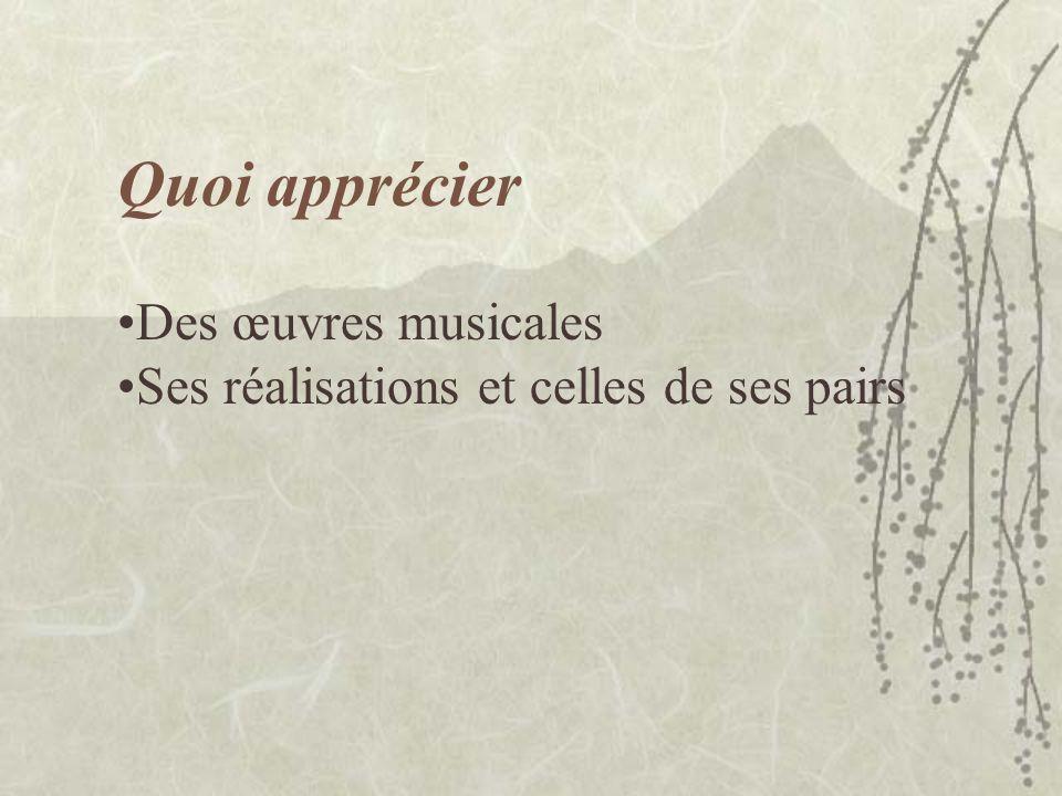 Des œuvres musicales Ses réalisations et celles de ses pairs Quoi apprécier