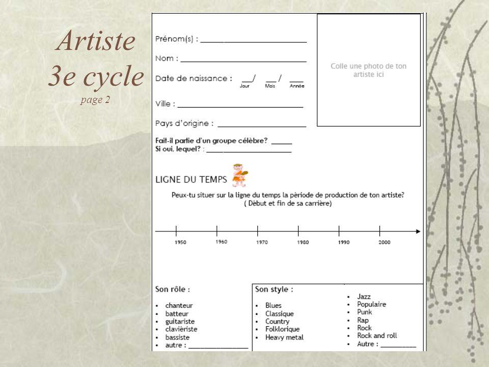 Artiste 3e cycle page 2