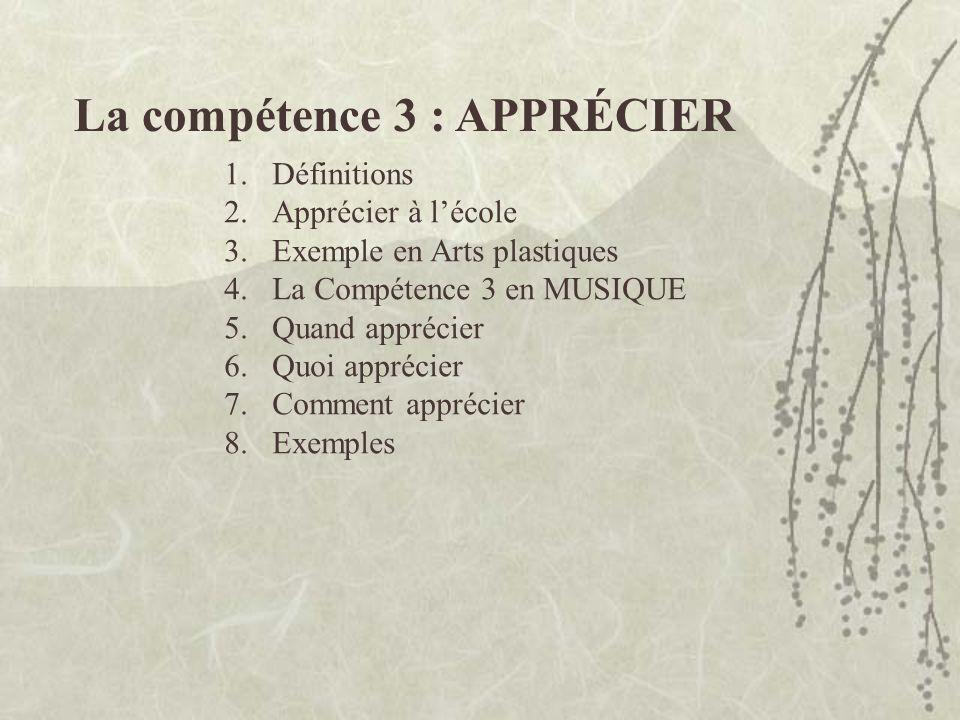1.Définitions 2.Apprécier à lécole 3.Exemple en Arts plastiques 4.La Compétence 3 en MUSIQUE 5.Quand apprécier 6.Quoi apprécier 7.Comment apprécier 8.