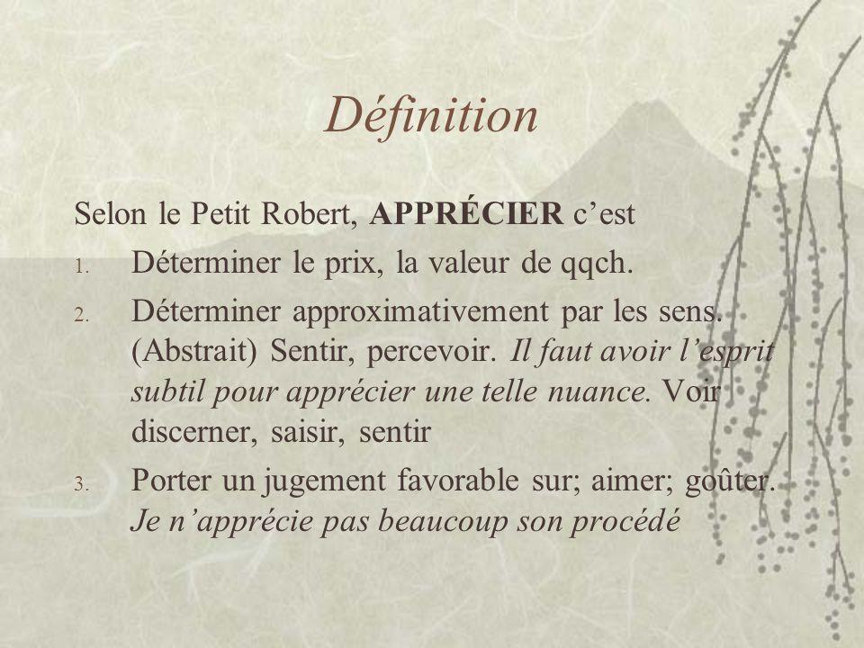 Définition Selon le Petit Robert, APPRÉCIER cest 1. Déterminer le prix, la valeur de qqch. 2. Déterminer approximativement par les sens. (Abstrait) Se