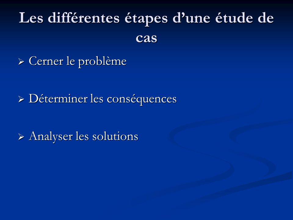 Les différentes étapes dune étude de cas Cerner le problème Cerner le problème Déterminer les conséquences Déterminer les conséquences Analyser les solutions Analyser les solutions