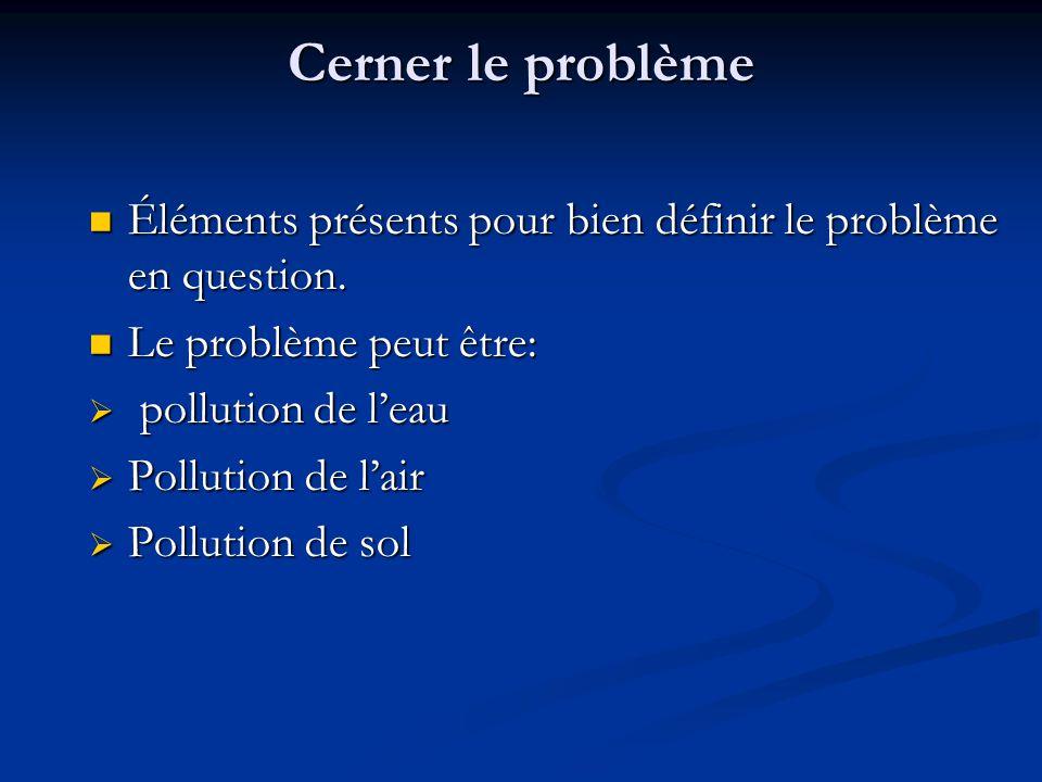 Cerner le problème Éléments présents pour bien définir le problème en question.