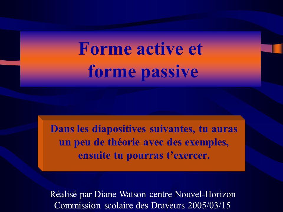 Forme active et forme passive Dans les diapositives suivantes, tu auras un peu de théorie avec des exemples, ensuite tu pourras texercer. Réalisé par
