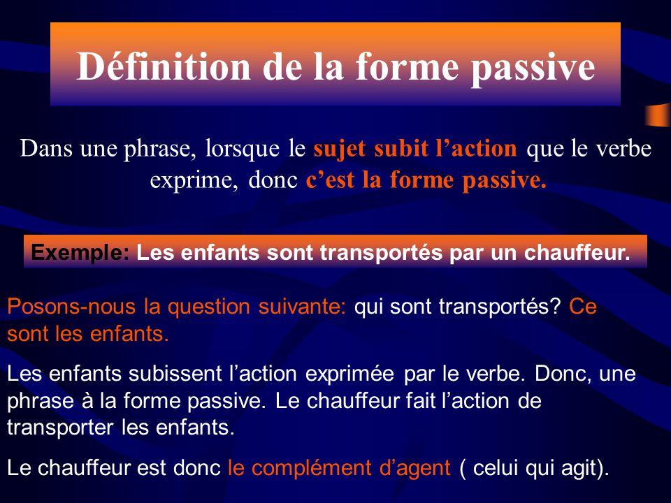 Dans une phrase, lorsque le sujet subit laction que le verbe exprime, donc cest la forme passive. Posons-nous la question suivante: qui sont transport
