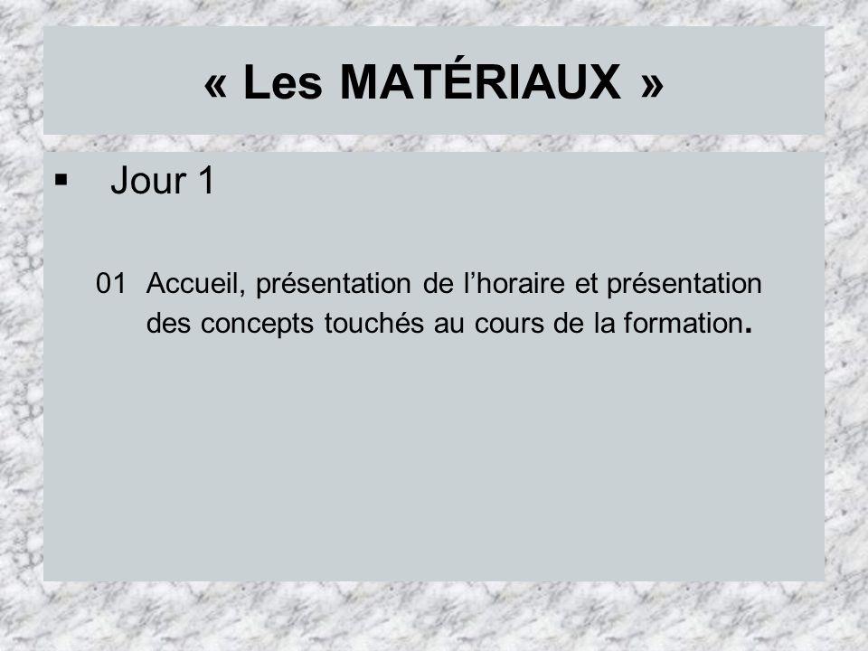 « Les MATÉRIAUX » Jour 1 08 Questionnaire sur le béton comme matériau (le pH du béton) : Cahier de lélève, pages 20, 21, 22