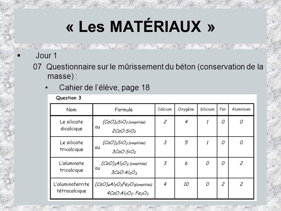 « Les MATÉRIAUX » Jour 1 07 Questionnaire sur le mûrissement du béton (conservation de la masse) : Cahier de lélève, page 18