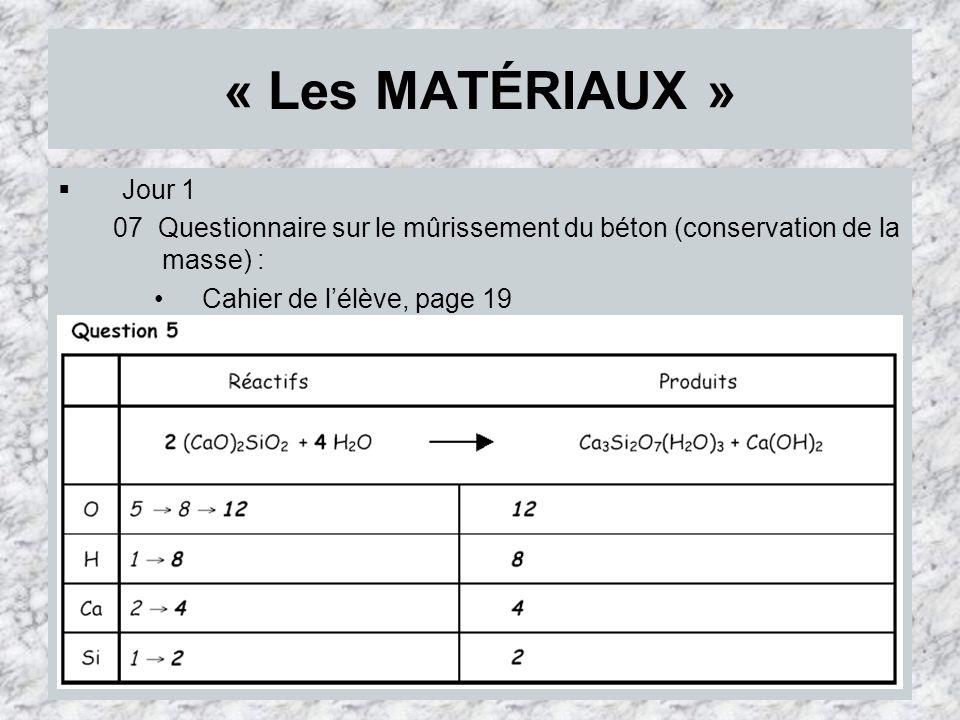 « Les MATÉRIAUX » Jour 1 07 Questionnaire sur le mûrissement du béton (conservation de la masse) : Cahier de lélève, page 19