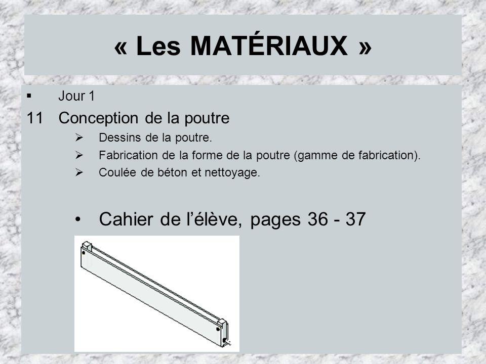 « Les MATÉRIAUX » Jour 1 11Conception de la poutre Dessins de la poutre. Fabrication de la forme de la poutre (gamme de fabrication). Coulée de béton
