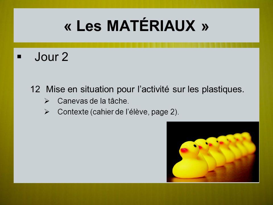 « Les MATÉRIAUX » Jour 2 12Mise en situation pour lactivité sur les plastiques. Canevas de la tâche. Contexte (cahier de lélève, page 2).