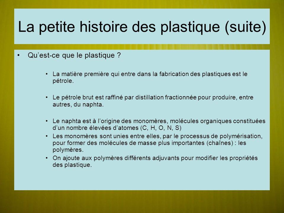 La petite histoire des plastique (suite) Quest-ce que le plastique ? La matière première qui entre dans la fabrication des plastiques est le pétrole.