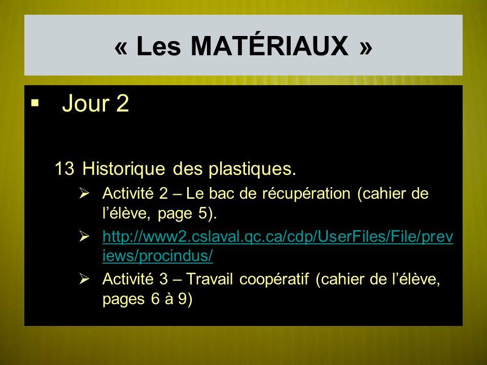 « Les MATÉRIAUX » Jour 2 13Historique des plastiques.