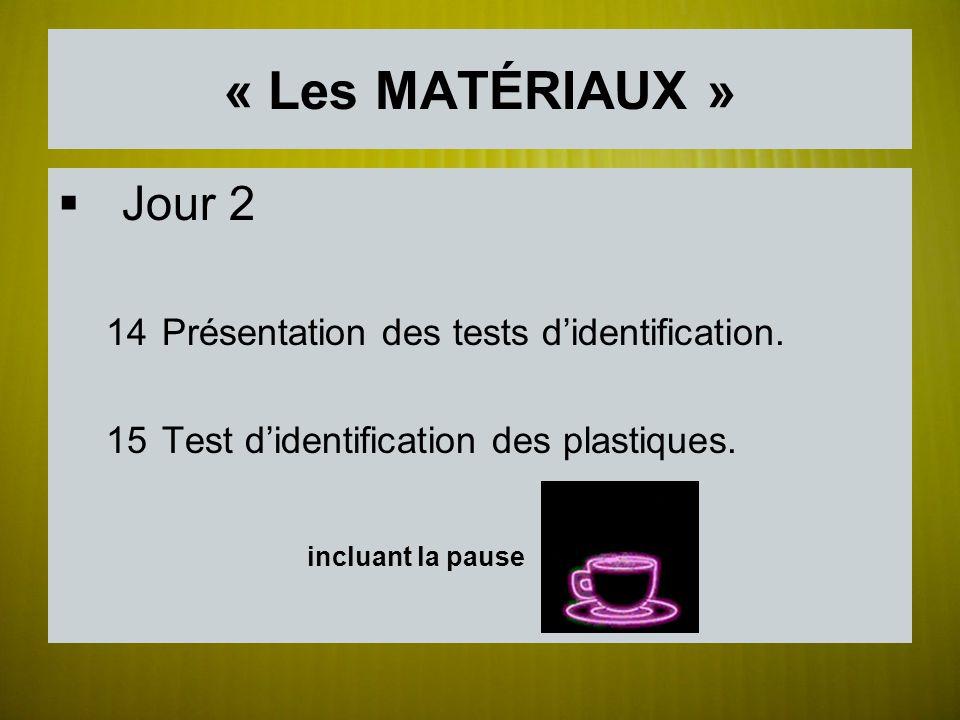 « Les MATÉRIAUX » Jour 2 14Présentation des tests didentification. 15Test didentification des plastiques. incluant la pause