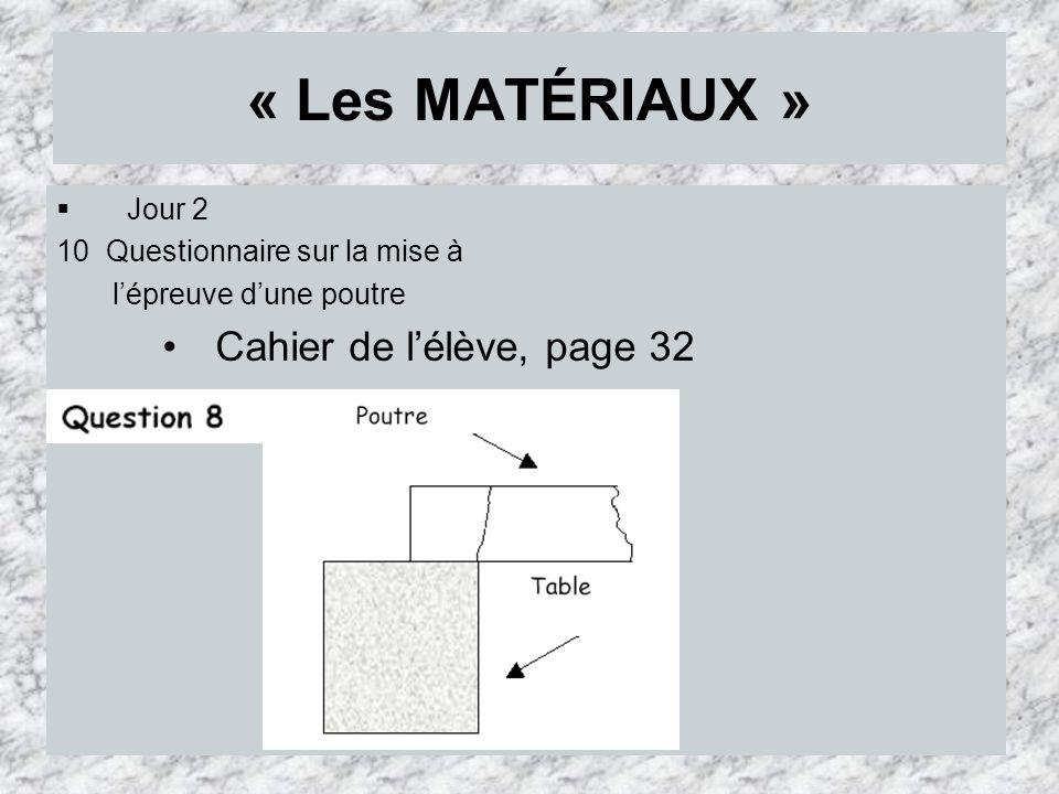« Les MATÉRIAUX » Jour 2 10 Questionnaire sur la mise à lépreuve dune poutre Cahier de lélève, page 32