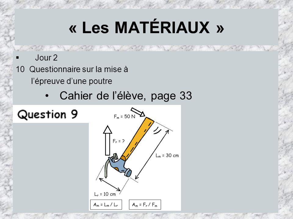 « Les MATÉRIAUX » Jour 2 10 Questionnaire sur la mise à lépreuve dune poutre Cahier de lélève, page 33