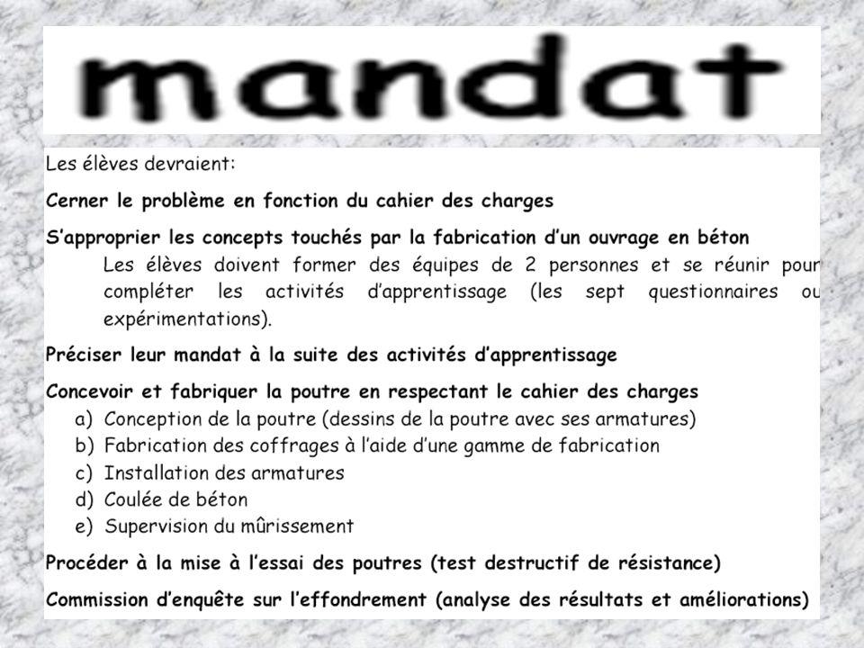 « Les MATÉRIAUX » Jour 2 10 Questionnaire sur la mise à lépreuve dune poutre Cahier de lélève, page 30