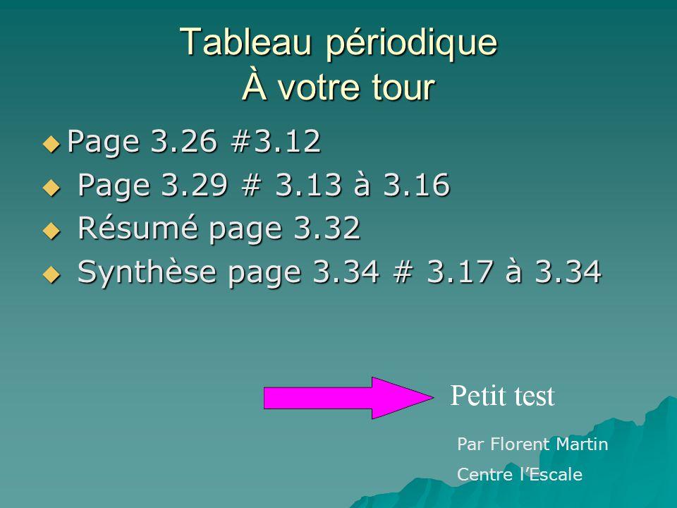 Tableau périodique À votre tour Page 3.26 #3.12 Page 3.26 #3.12 Page 3.29 # 3.13 à 3.16 Page 3.29 # 3.13 à 3.16 Résumé page 3.32 Résumé page 3.32 Synt