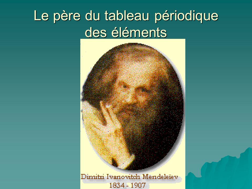 Tableau de Mendeleïev (1870) Il classe les éléments connus (63) Il classe les éléments connus (63) Il les classe selon leur masse atomique (Hydrogène=1) Il les classe selon leur masse atomique (Hydrogène=1) Il découvre que leurs propriétés reviennent périodiquement.