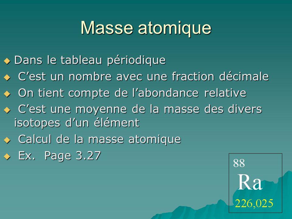 Masse atomique Dans le tableau périodique Dans le tableau périodique Cest un nombre avec une fraction décimale Cest un nombre avec une fraction décima