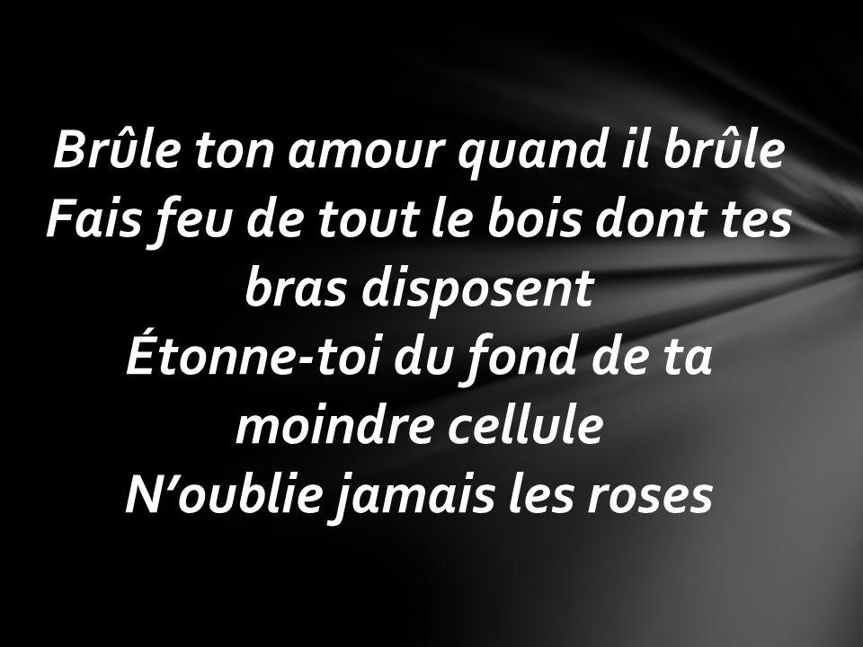 Brûle ton amour quand il brûle Fais feu de tout le bois dont tes bras disposent Étonne-toi du fond de ta moindre cellule Noublie jamais les roses
