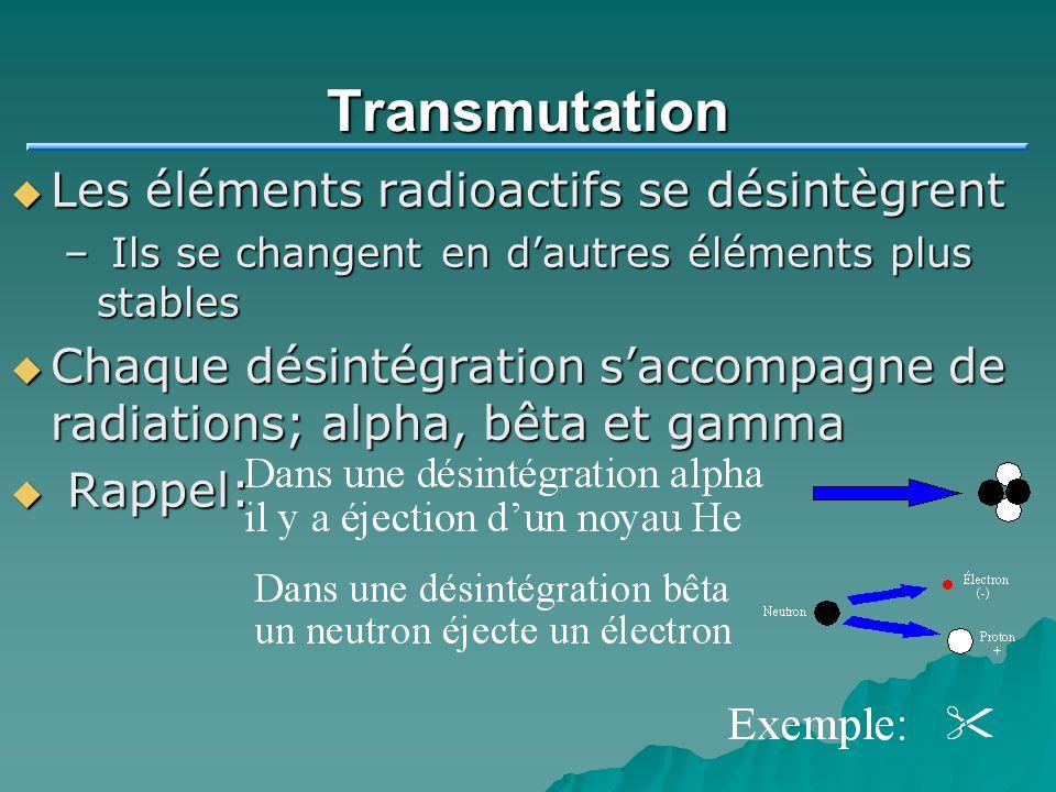 Transmutation Les éléments radioactifs se désintègrent Les éléments radioactifs se désintègrent – Ils se changent en dautres éléments plus stables Cha