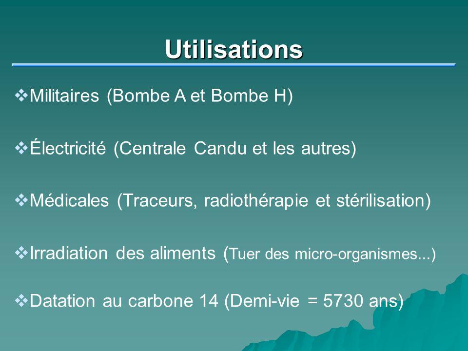 Utilisations Militaires (Bombe A et Bombe H) Électricité (Centrale Candu et les autres) Médicales (Traceurs, radiothérapie et stérilisation) Irradiati