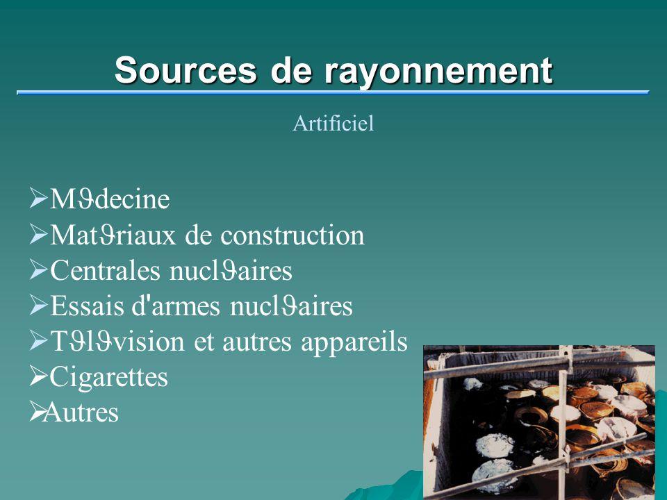 Sources de rayonnement Artificiel M J decine Mat J riaux de construction Centrales nucl J aires Essais d ' armes nucl J aires T J l J vision et autres