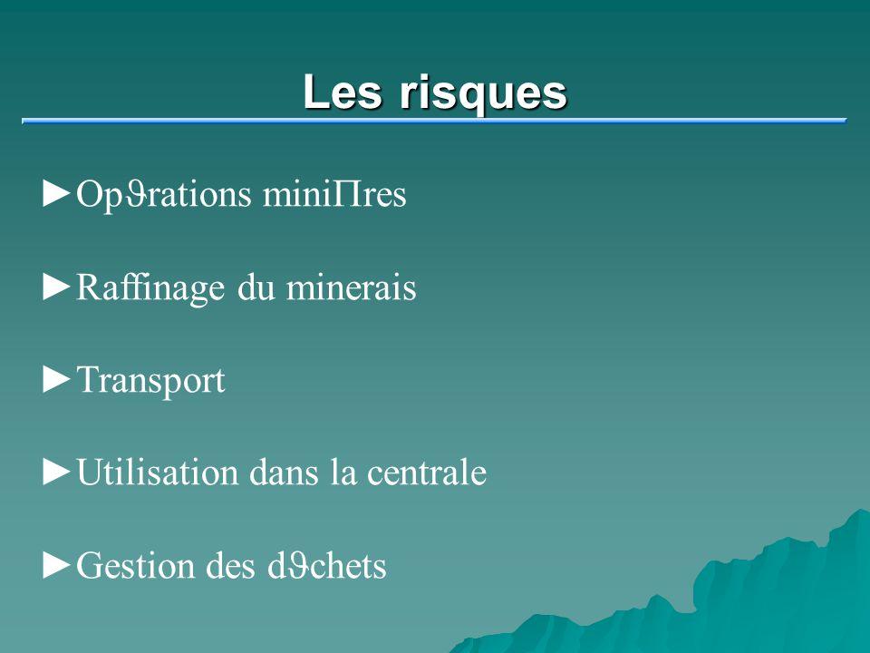 Les risques Op J rations mini P res Raffinage du minerais Transport Utilisation dans la centrale Gestion des d J chets
