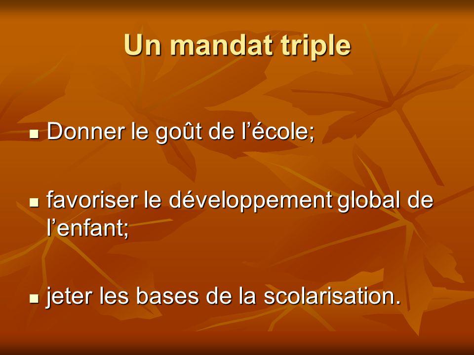 Un mandat triple Donner le goût de lécole; Donner le goût de lécole; favoriser le développement global de lenfant; favoriser le développement global d