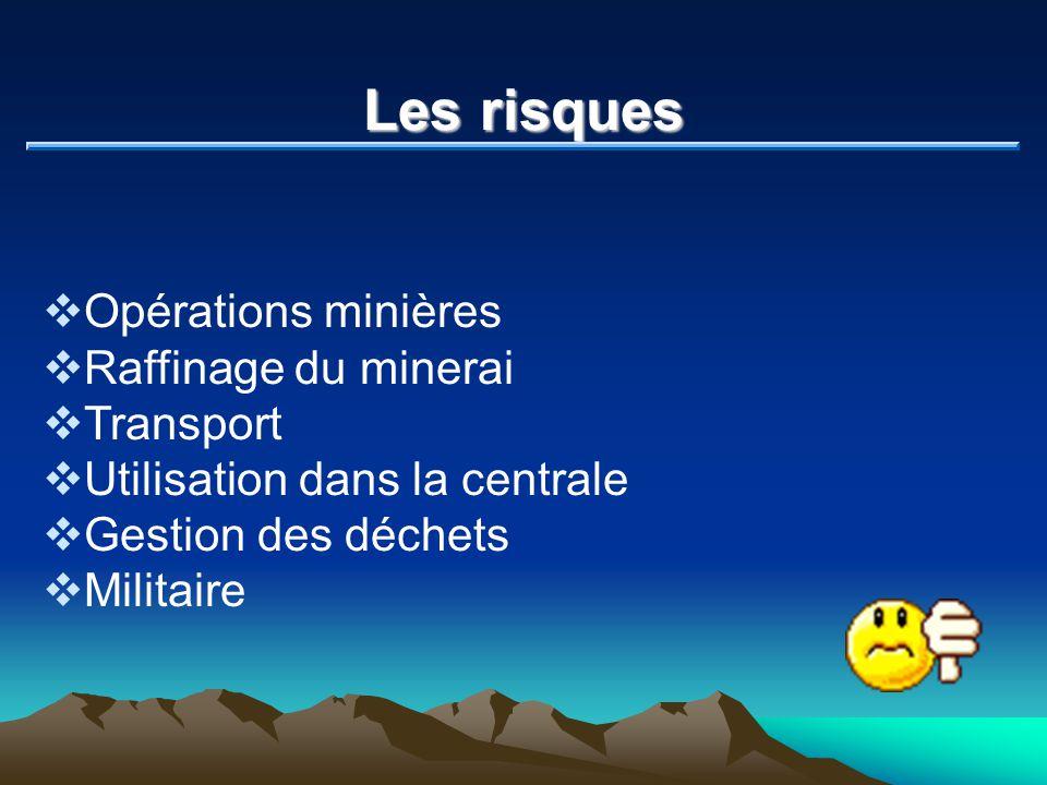 Les risques Opérations minières Raffinage du minerai Transport Utilisation dans la centrale Gestion des déchets Militaire