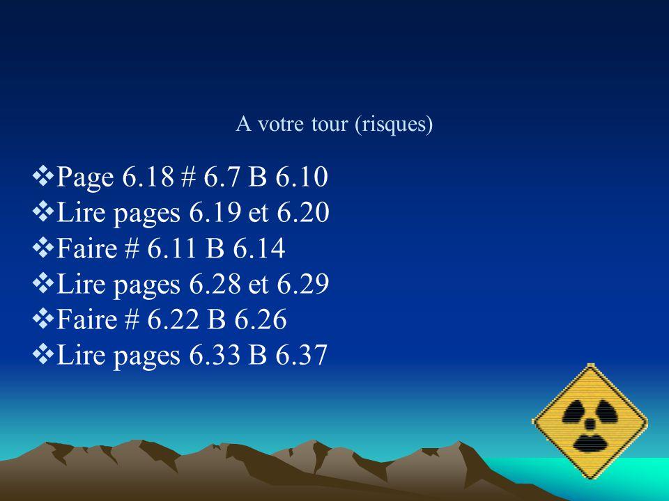 A votre tour (risques) Page 6.18 # 6.7 B 6.10 Lire pages 6.19 et 6.20 Faire # 6.11 B 6.14 Lire pages 6.28 et 6.29 Faire # 6.22 B 6.26 Lire pages 6.33
