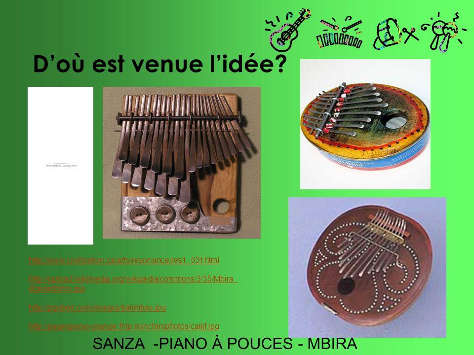 Doù est venue lidée? http://www.civilization.ca/arts/resonance/res1_03f.html http://upload.wikimedia.org/wikipedia/commons/3/35/Mbira_ dzavadzimu.jpg