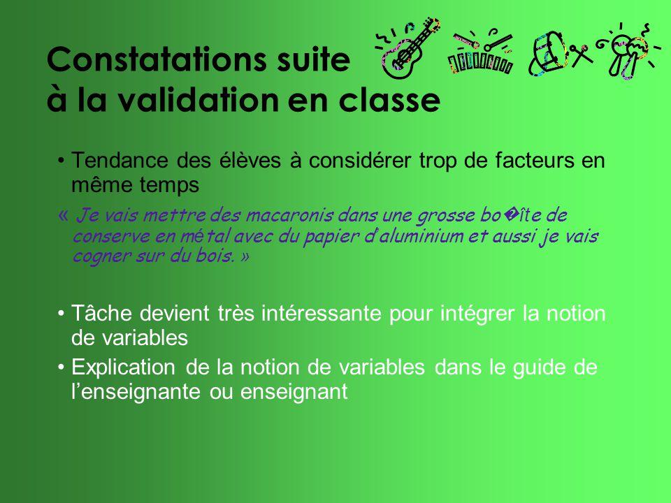 Constatations suite à la validation en classe Tendance des élèves à considérer trop de facteurs en même temps « Je vais mettre des macaronis dans une